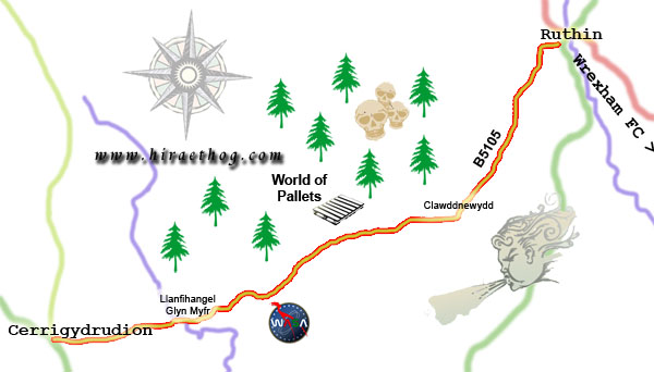 A spoof map of B5105 showing the route from Ruthin to Cerrigydrudion