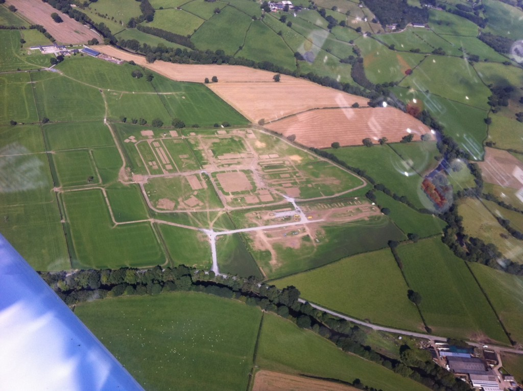 Aerial view of the site of the former Eisteddfod site at Mathrafal, Meifod, Powys