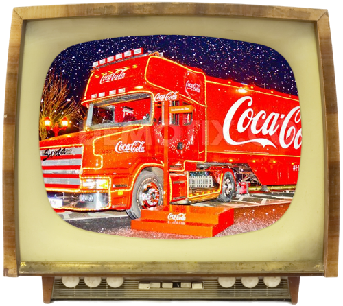 Christmas consumerism depicted by Coca Cola truck on television