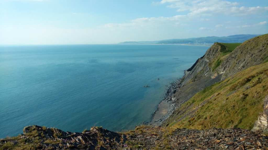 View from cliffs above Sarn Gynfelin on the Cambrian coast.
