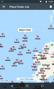 Screen showing aircraft Flight WS23 C_FOGT tracking over atlantic ocean