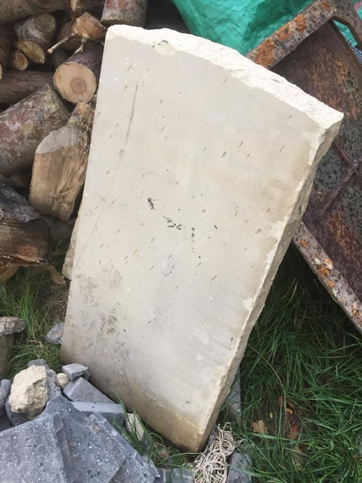 a slab of cream coloured rock.